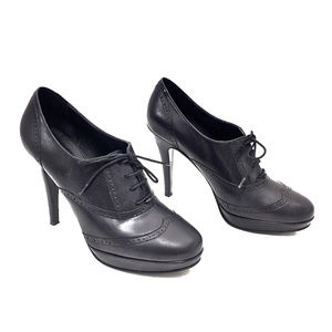 J. Crew Black Leather Platform High Heel Oxfords